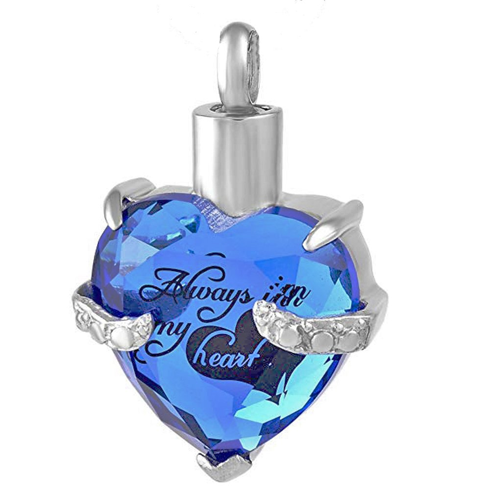 Always in My Heart Glass Heart Urn Necklace for Ashes Cremation Jewelry for Men Women +Snake Chain (Blue)