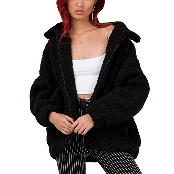 skilful manufacture the best new authentic Women Faux Shearling Coat Oversized Zip Winter Fuzzy Fleece Teddy Bear  Jacket