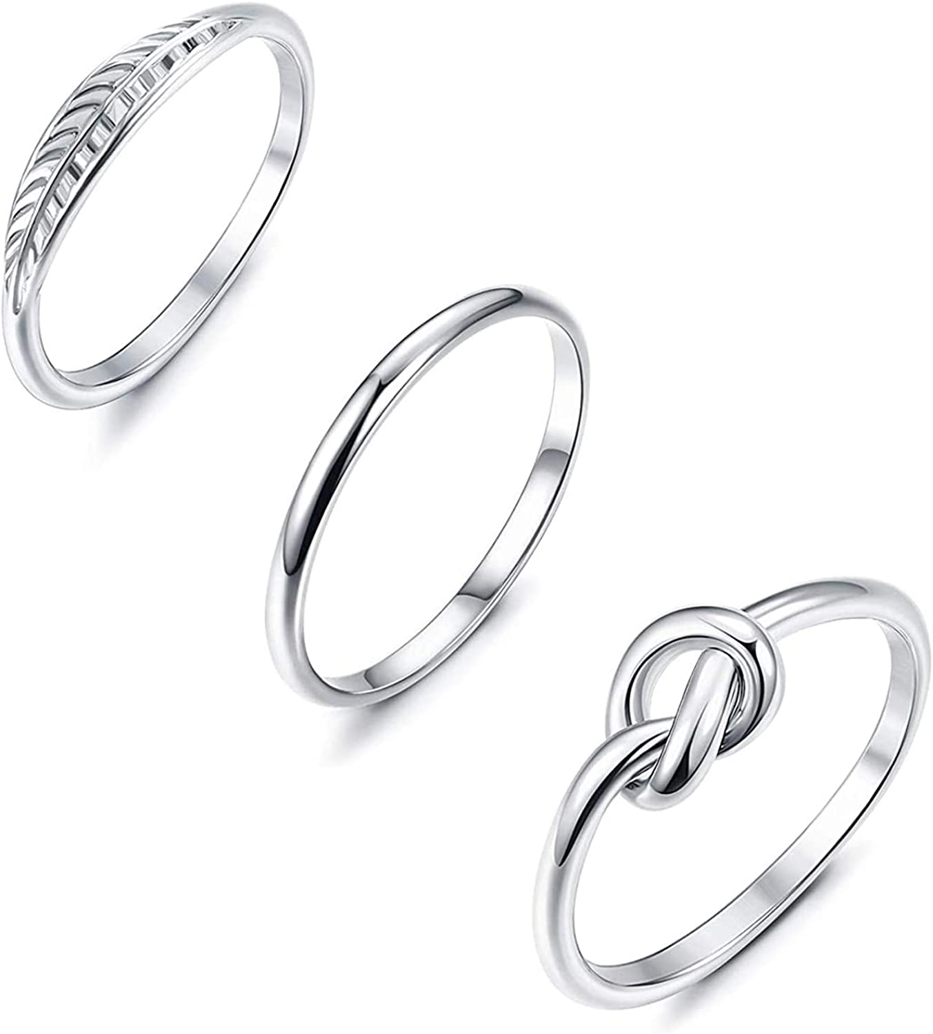 YADOCA 4 Pcs Stainless Steel Engagement Wave Ring Set for Women Knot Feather Ring Thumb Chevron Rings Stackable Cute Simple Band Size 4-12
