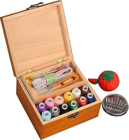 Kit de costura portátil de madera Da Jia Inc, caja organizadora para el hogar o viaje, con hilos/agujas/cinta métrica/tijeras/dedal y otros accesorios: Amazon.es: Hogar