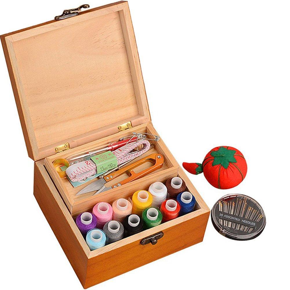 Da Jia Inc携帯用木製ソーイングキットケースオーガナイザーボックスセット、旅行用、糸/針/巻き尺/はさみ/指ぬきなど   B06Y5NG81M