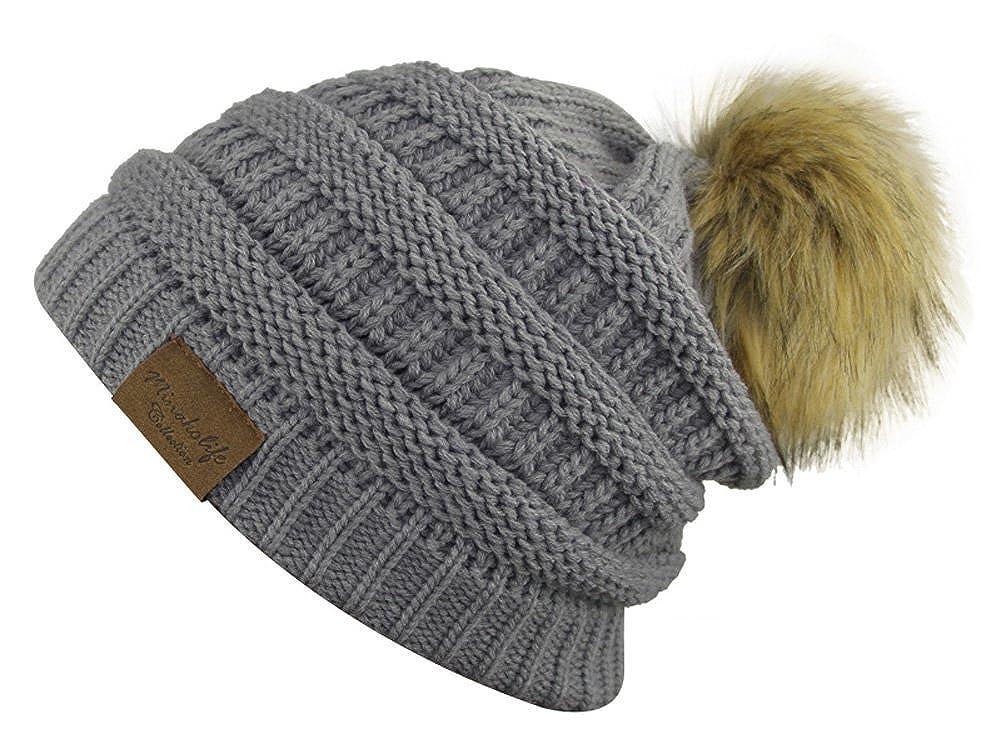 Minakolife Women Soft Solid Ribbed Stretch Cable Faux Fur Pom Pom Hat 7100-4