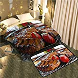 UNOSEKS-Home Bedside Blanket Doormat suitA Delicious Steak on a Grill Cozy and Durable Blanket 50''x70''/Mat 2'X4'