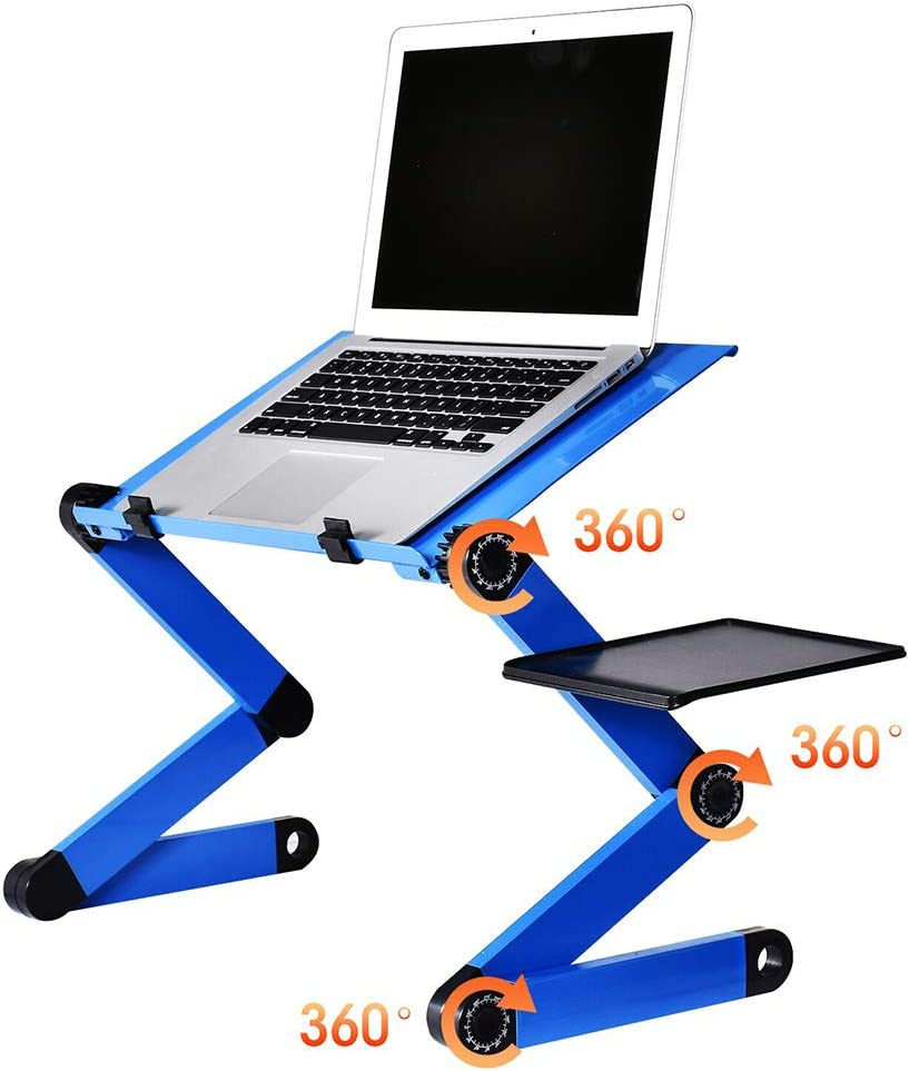 BAIJIAWEI Adjustable Laptop Table Stand with 2 CPU Cooling Fan, Portable Vented Lap Desk with Mouse Pad Side, Foldable Tray Table for Bed, Couch and Sofa