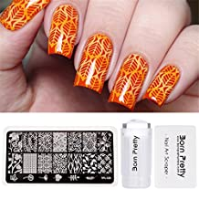 BORN PRETTY Stamping Tool Set 2.8cm Clear Jelly Silicone Stamper Flower Vine Image Plate Scraper