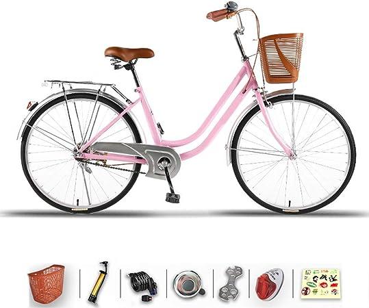 DODOBD Bicicleta de Mujer de 26 Pulgadas, Cesta de Bicicleta, Bicicleta de Ciudad para Mujer, Bicicleta de Mujer, Confort, Bicicletas, Retro, Holanda, Mujer, Dama, Niña, Vintage: Amazon.es: Hogar