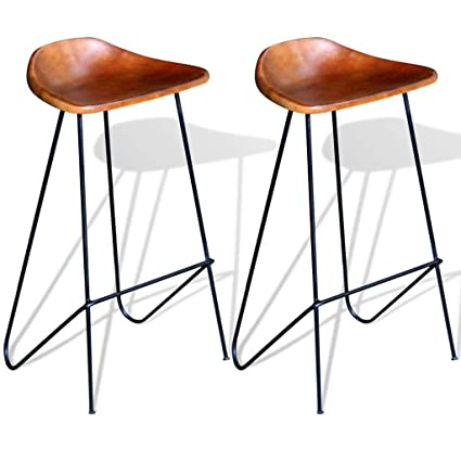 5df9a23a6d9d Festnight Set of 2 Bar Stool Real Leather Seat Backless Industrial Style  Barstool Pub Chairs Counter