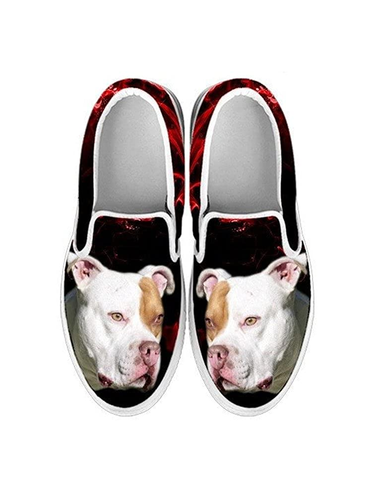 Pawlice Pit Bull Terrier Dog Print Slip Ons Shoes for Women for Pit Bull Terrier Dog Lovers