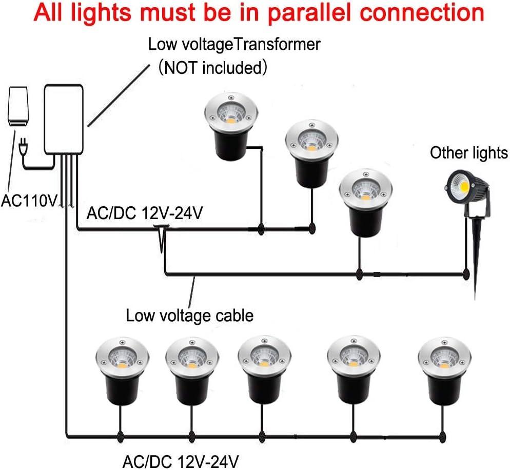 ZUCKEO Landscape Lights 3W LED Outdoor Pathway 12V 24V Low Warm White