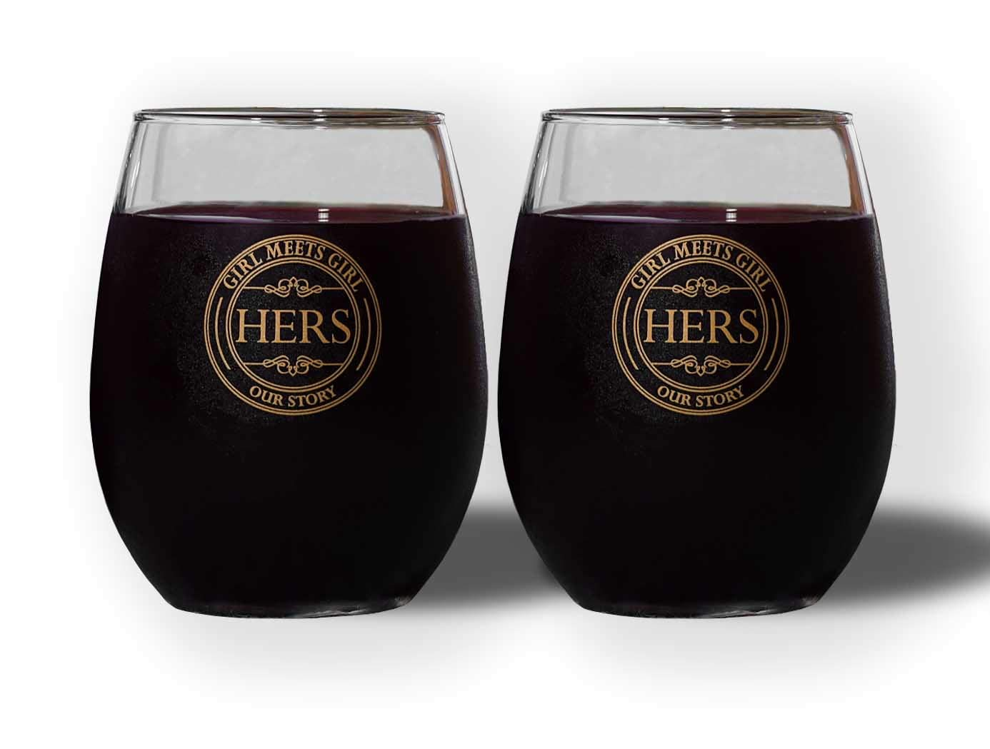 Great Lesbian Couple Gift Hers and Hers Stemless Wine Glass Set of 2