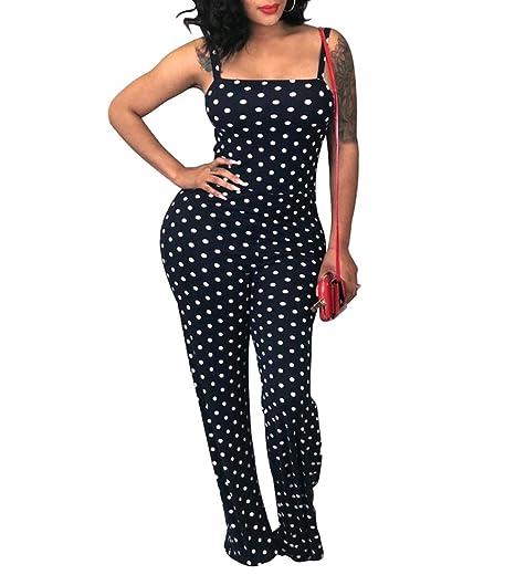 4222de3ab6b6 lisenraIn Women Sexy Polka Dot Spaghetti Strap Plus Size Wide Leg Long  Pants Jumpsuit Romper (