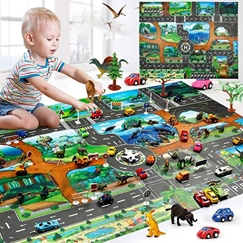 LEANO Kids 51?? x 40'' Map Taffic Animal Play Mat Road Traffic System Play Mat Rug Baby Road - Carpet System