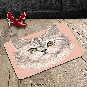 Custom lavable Felpudo gato amante Decor Collection Vertical de Domestic gato persa con whishers gato siamés carácter Furry Animal pintura rosa y beige para interiores/al aire libre Felpudo alfombra alfombra alfombra