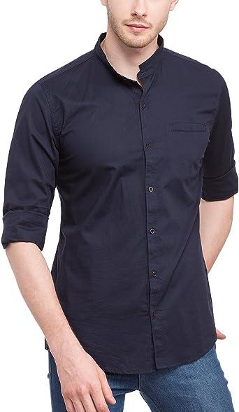 nick&jess Camisa de cuello mandarín azul marino casual para hombre