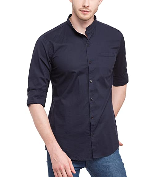 d4925de2bfd Nick Jess Mens Casual Navy Blue Shirt - Mandarin Neckline with Mao Collar.  Roll over image to zoom in. Nick   Jess