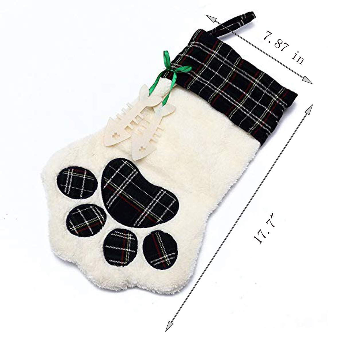 Christmas Tree Stocking Beegame Dog Paw Christmas Stocking,Holiday Favor Decoration Pet Dog Cat Stocking Carrying Bag for Party