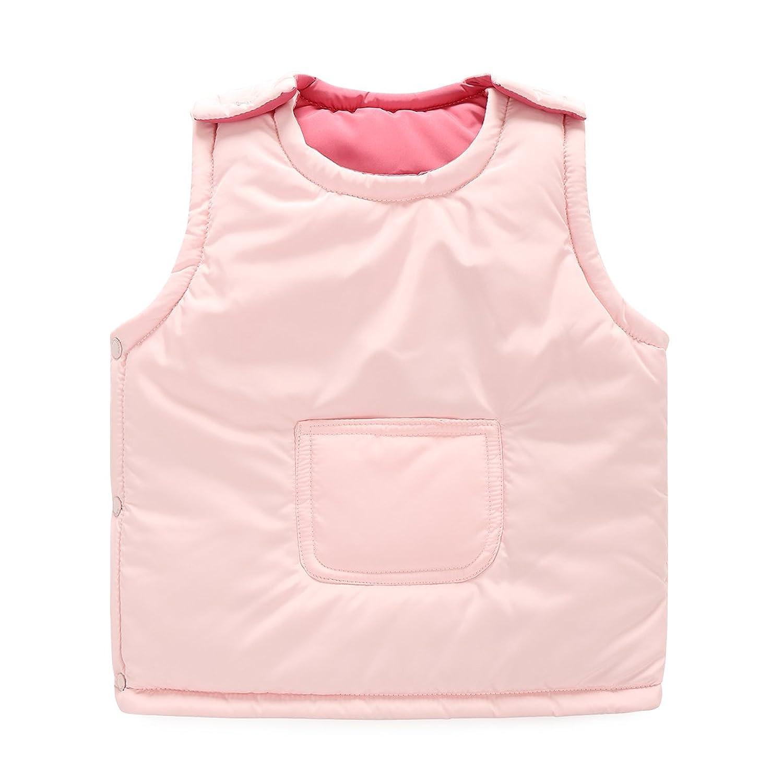 HiRingda Kurz Weste Für Kinder Ärmellos 2 Seiten Tragbar Baumwollgefütterte Jacke Farbigen Kinderweste Outwear