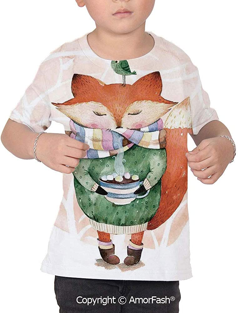 Animal Crew Neck for Ultimate Comfort T-Shirt,Cute Little Fox and B