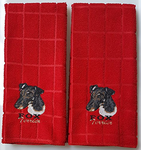 - Tangled Threds Custom Embroidery Smooth Fox Terrier Embroidered Hand Towels 2 Pack