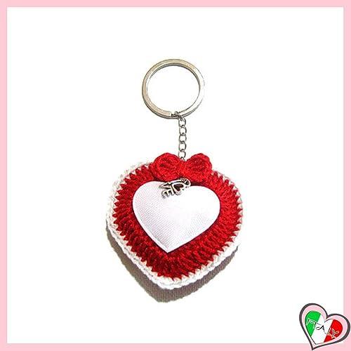 Llavero corazon rojo con borde blanco de ganchillo - tamaño ...