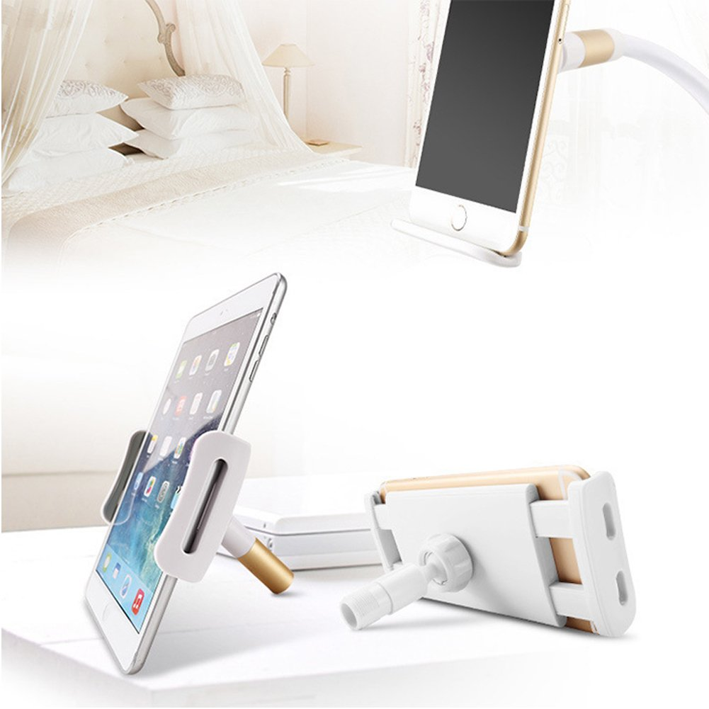Cell Phone Clip Holder,ixaer Gooseneck Universal Lazy Bracket Flexible Long Arm for Tablet ipad/ iPhone x Samsung Mount for Devices 5.25 to 18.37 Inches 360 Degree Rotating Flexible Arm (Silver)