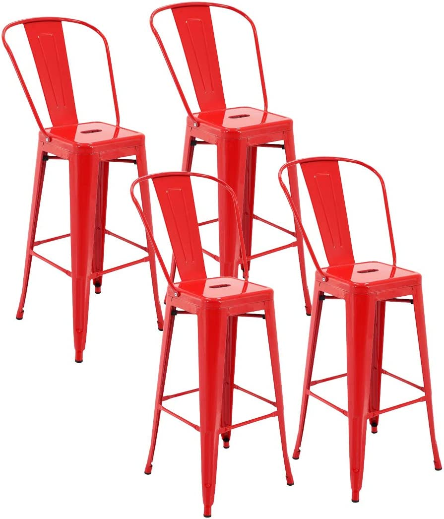 """30/"""" Seat Height Set of 4 Porthos Home Rust-Resistant Metal Patio Barstool with Back Black One Size"""