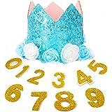 Kingsie ペット用帽子 お誕生日 犬 猫 ペットキャップ かわいい 花 キラキラ 誕生日帽子 数字0-9付き ワンちゃん 猫ちゃん 1歳 バースデー クリスマス 記念日 (ブルー)