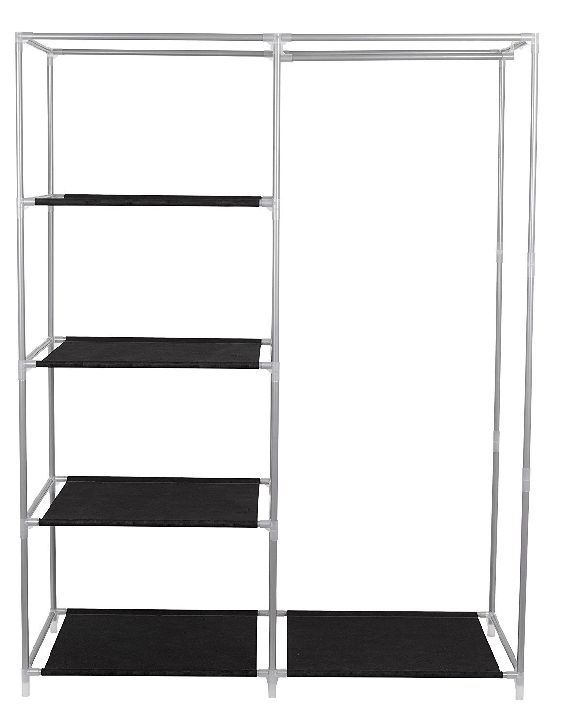 FloridaBrands Portable Closet Wardrobe - 62'' Clothes Closet Storage Organizer and Non-Woven Fabric Standing Wardrobe with Hanging Rack and 4 Shelves for Keeping Clothing Safe, Dust-Proof Cover by by FloridaBrands (Image #4)