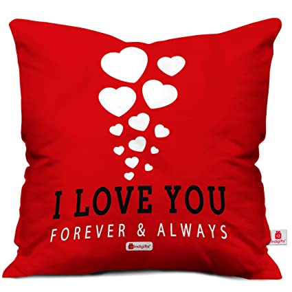 Buy Indigifts Love You Forever Quote Red Cushion Cover 18x18 Inches