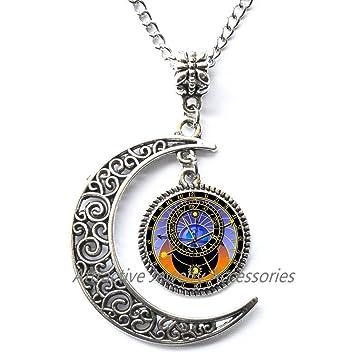 Astronómico reloj de globo colgante collar de astronomía astrológico astronomía ciencia joyas joyería de cristal, mejor amigo Collar, qk143: Amazon.es: ...