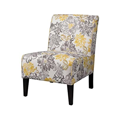 Bon Linon Lily Gray U0026 Yellow Polyester Side Chair