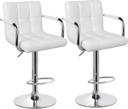 eSituro Bar Stools Set of 2 White Breakfast Dining Stools for Kitchen Swivel Adjustable Height Faux Leather Barstools for Counter Island with Footrest and Chromed Base SBST0116