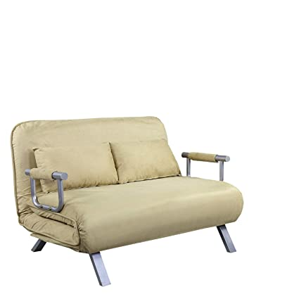 Amazon.com: Beige 2 Persons Convertible Loveseat Sofa Bed ...