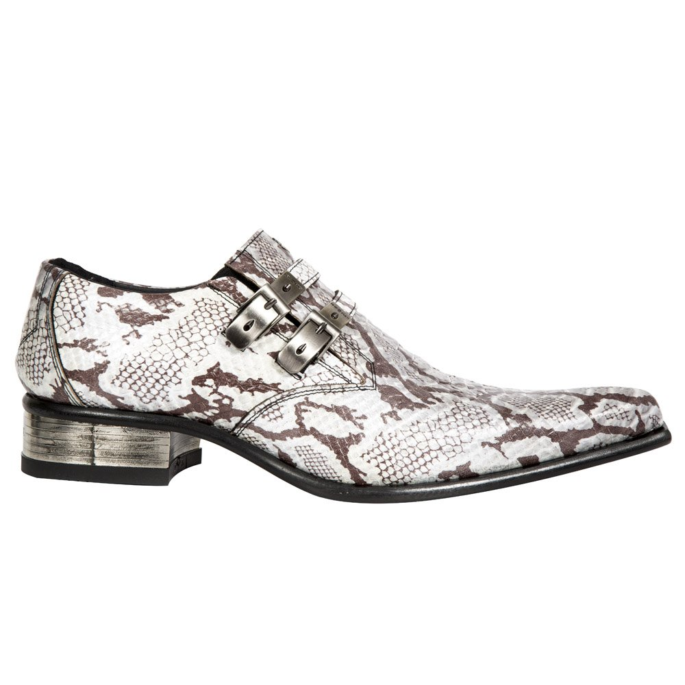 100%本物保証! New Rock Shoes Rock - Mens White 9 Snake Print Newman Mens Leather Shoes UK 9/ White B01LZ48WQN, BeautyL ビューティエル:5bd59ce3 --- svecha37.ru