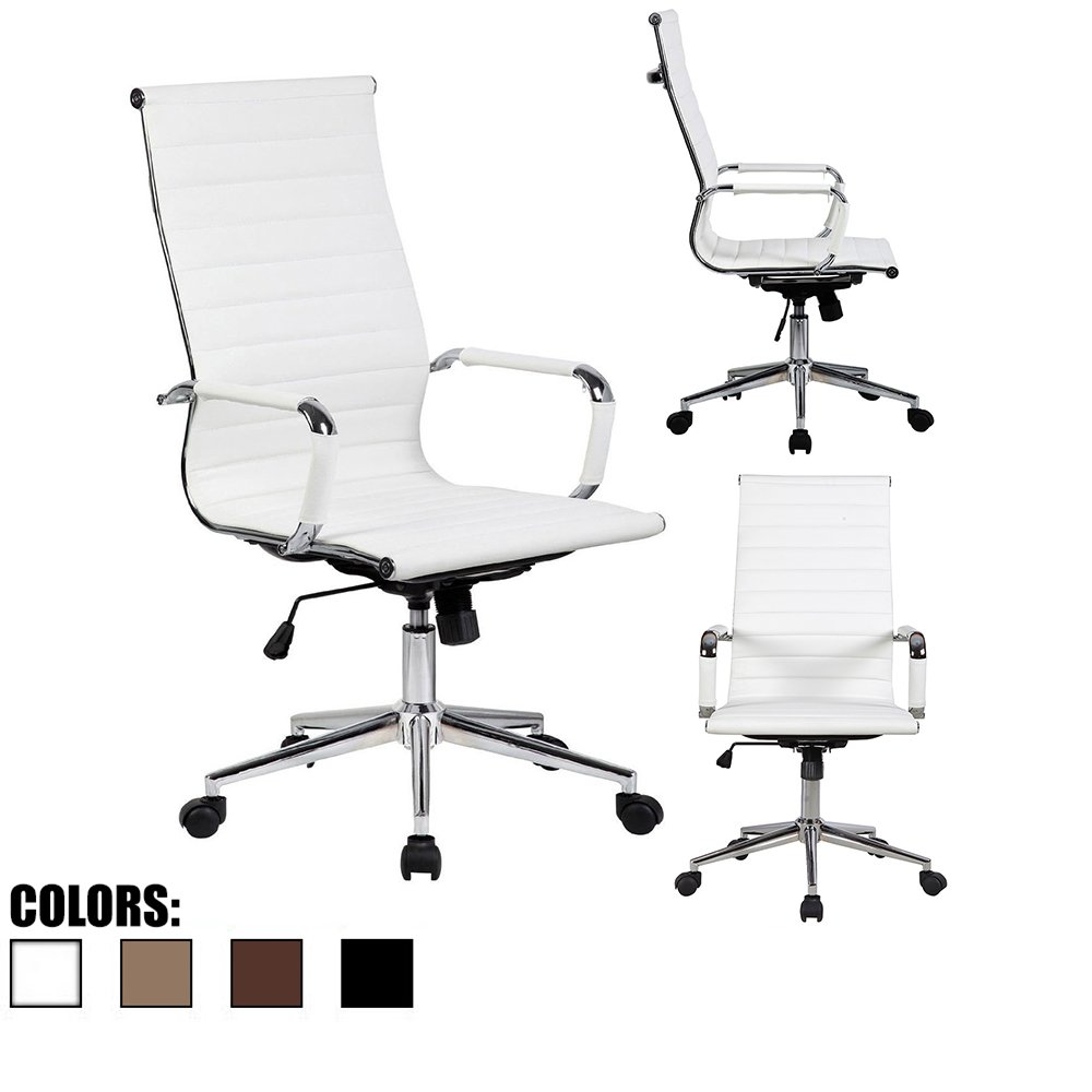 2xhome - Modern High Back Tall Ribbed PU Leather Swivel Tilt Adjustable Chair Designer Boss Executive Management Manager Office Conference Room Work Task Computer (White - Ribbed 1 Qty)