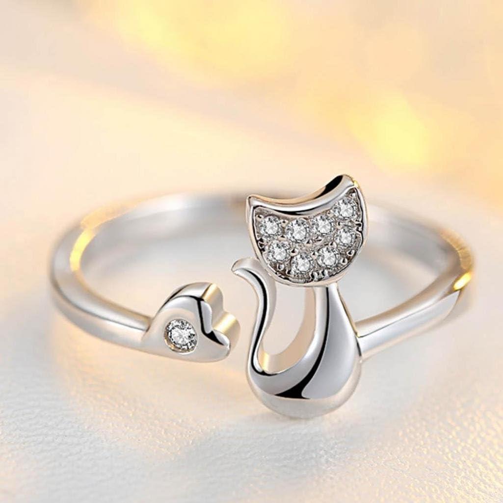 Ameesi 1Pc Cubic Zirconia Animal Cute Little Cat Heart Open Ring Fashion Jewelry US 7