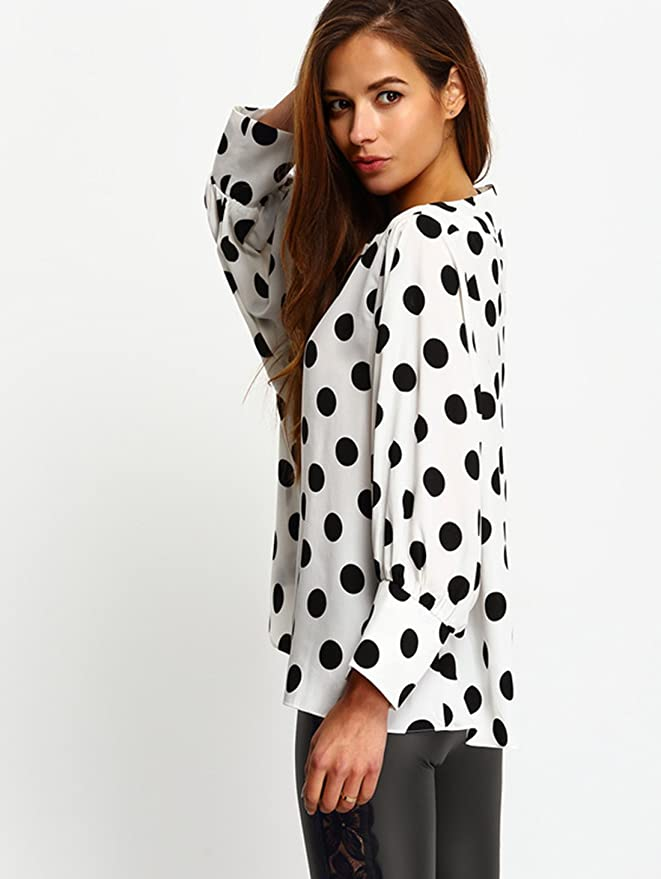 343a67f8cd2 SheIn Women s Boat Neck Polka Dots Batwing Sleeve Loose Top Blouse at  Amazon Women s Clothing store
