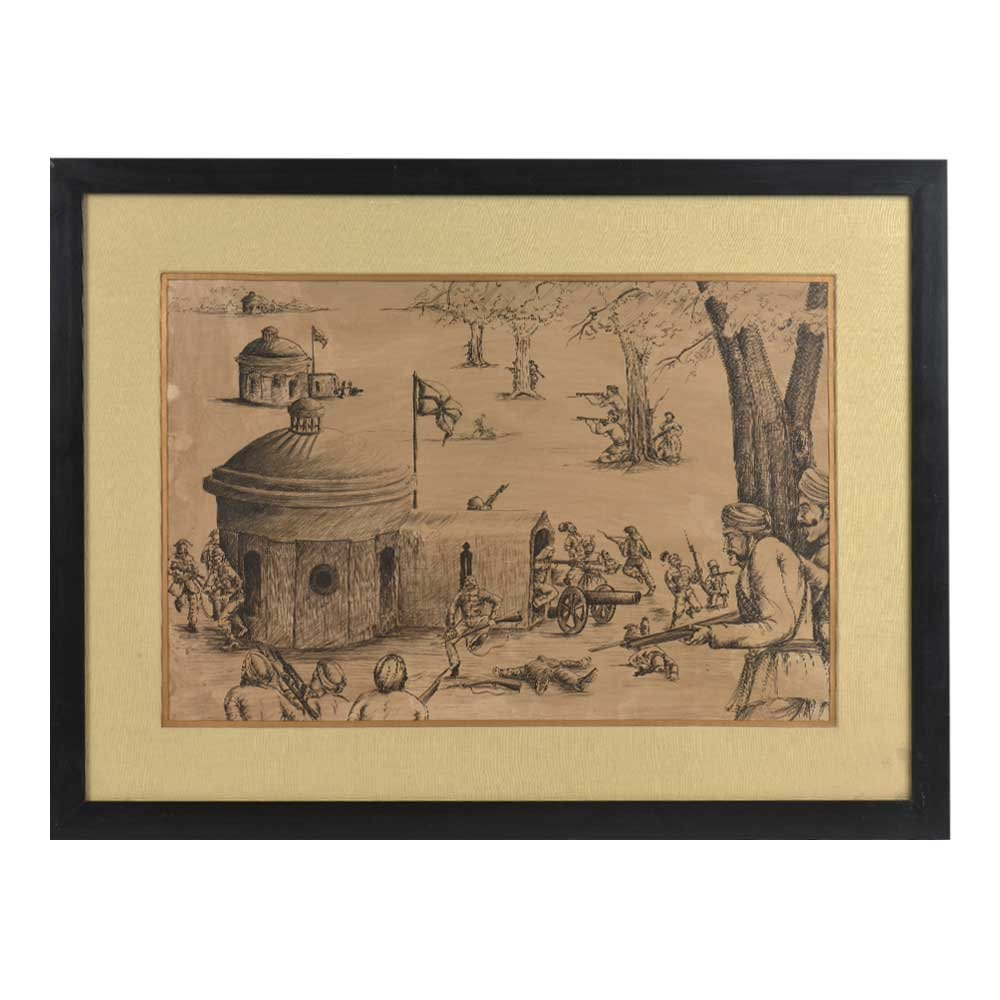 IndianShelf Handmade Paper Lithographic of Indian Freedom Fighters Plan a Secret Attack on British Army Camp with Frame Online