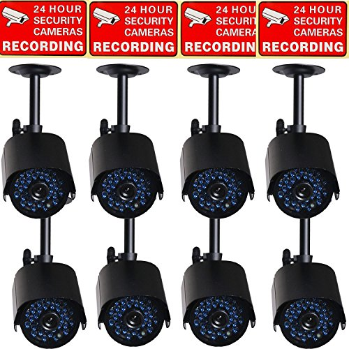VideoSecu 8 Pack of Infrared Day Night Vision CCTV Security Cameras Weatherproof 520TVL 36 IR Leds for Home Video DVR Surveillance System C1T