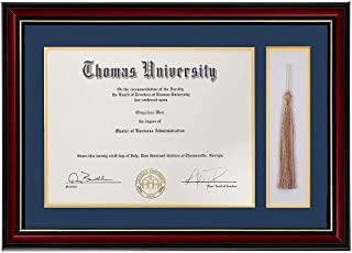 product image for flag connections Diploma Frame with Tassel Shadow Box Real Wood & Glass Golden Rim 11x16 Frame for 8.5x11 Certificate and Document.
