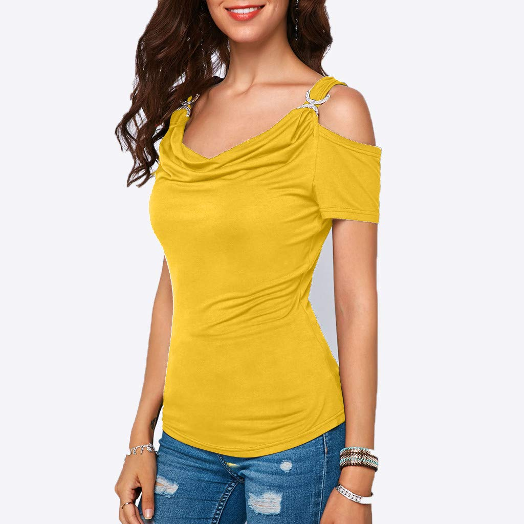 YFancy Women Short Sleeve Tops Casual Loose Cold Shoulder Draped Collar Solid Color Shirt Top T-Shirt Blouse Fit Tee