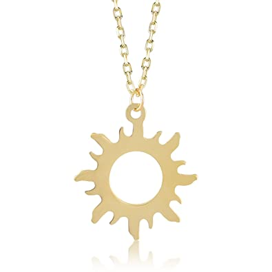 cf1daf0b46e9a8 Image Unavailable. Image not available for. Color: Gelin 14k Yellow Gold Good  Vibes Only Sun Chain Pendant ...