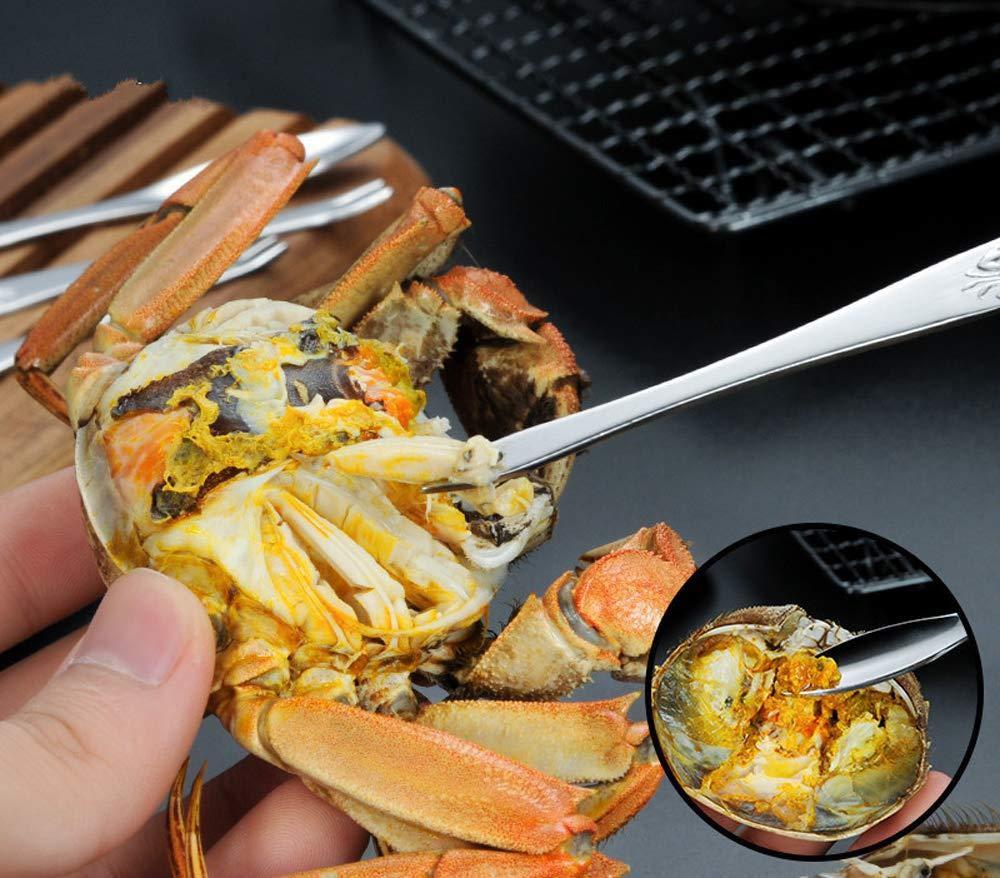 7Pcs Seafood Tools Set including 4 Forks and 2 Lobster Crackers Nut Cracker 1 Seafood Scissors Blue Lobster Shellers