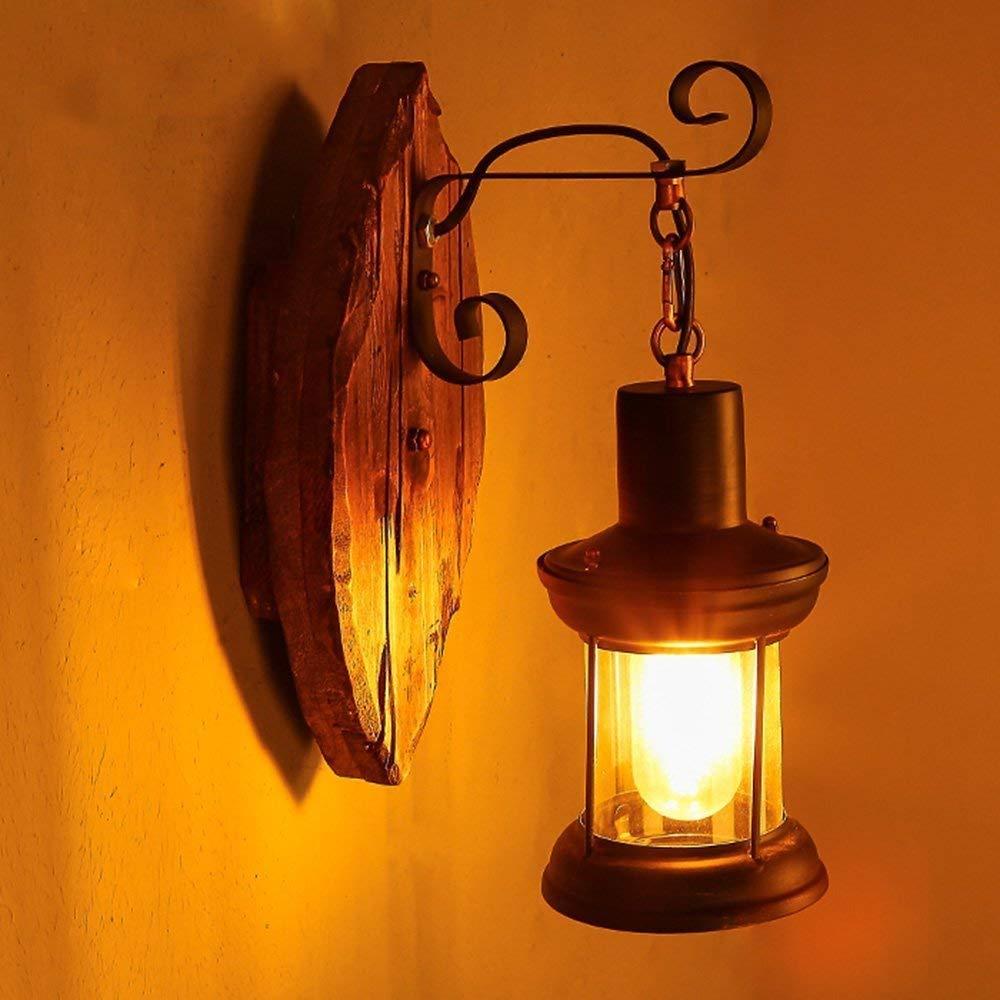 FuweiEncore Retro Nostalgie massivem Holz Glas Wandlampe Lampenschirm Restaurant CAF & Eacute; Lounge Committed Das Schlafzimmer Wandlampenbett (Farbe   -, Größe   -)