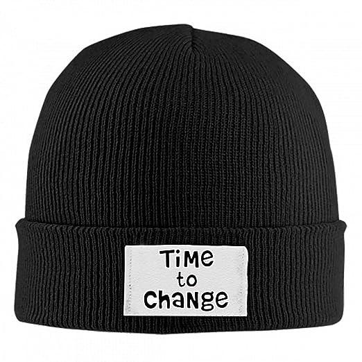 6ddbb8e8d14 Unisex Beanie Hats Time to Change Skull Cap Cuffed Plain Cuff Knitted  Slouchy Hats Black