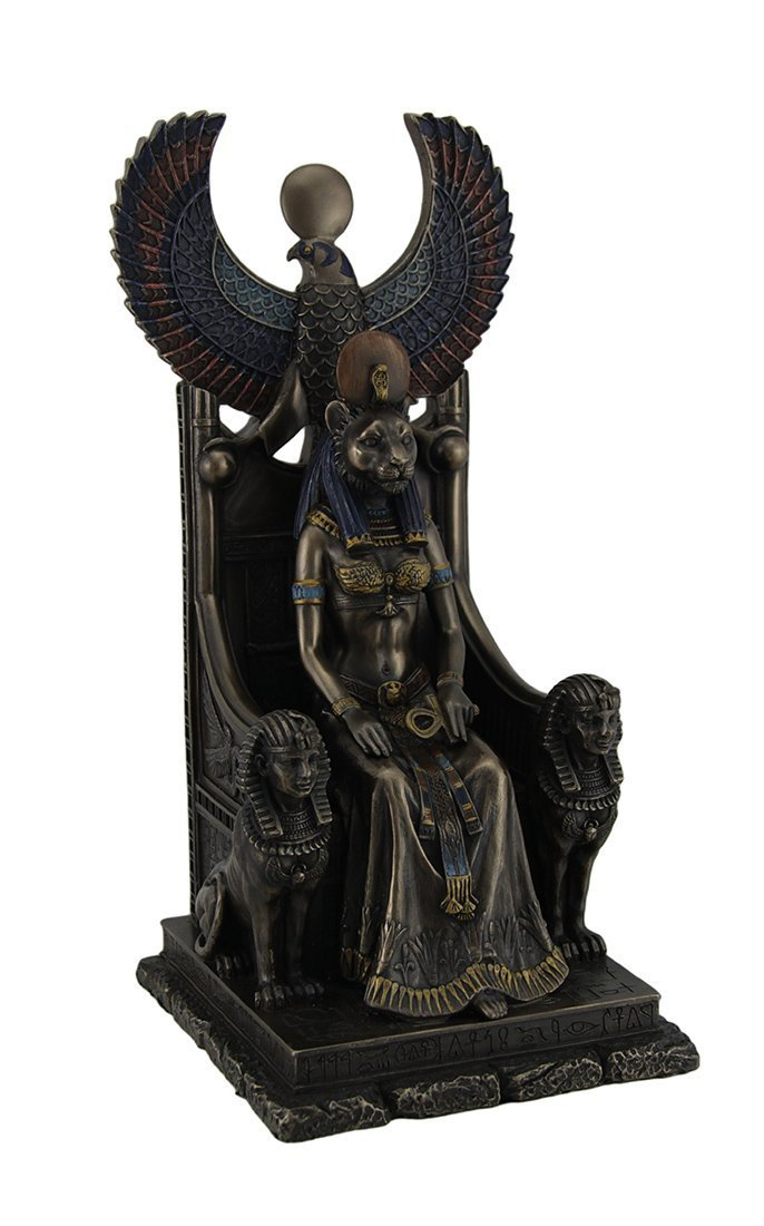 Resin Statues Ancient Egyptian Goddess Of Healing Sekhmet Sitting On Throne Statue 5 X 11 X 5 Inches Brown by Veronese