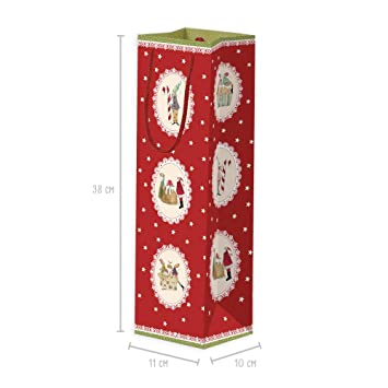 Juego de 3 bolsas de regalo para botellas de papel con asa grande, bolsas de