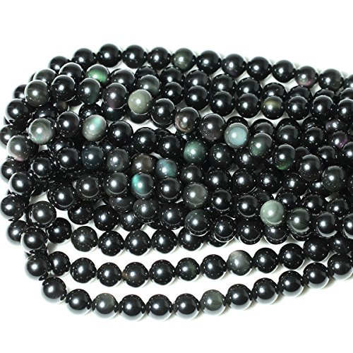 """CHEAVIAN 35PCS 10mm Natural Black Obsidian Gemstone Round Loose Beads Crystal Energy Stone Healing Power for DIY Jewelry Making 1 Strand 15"""""""