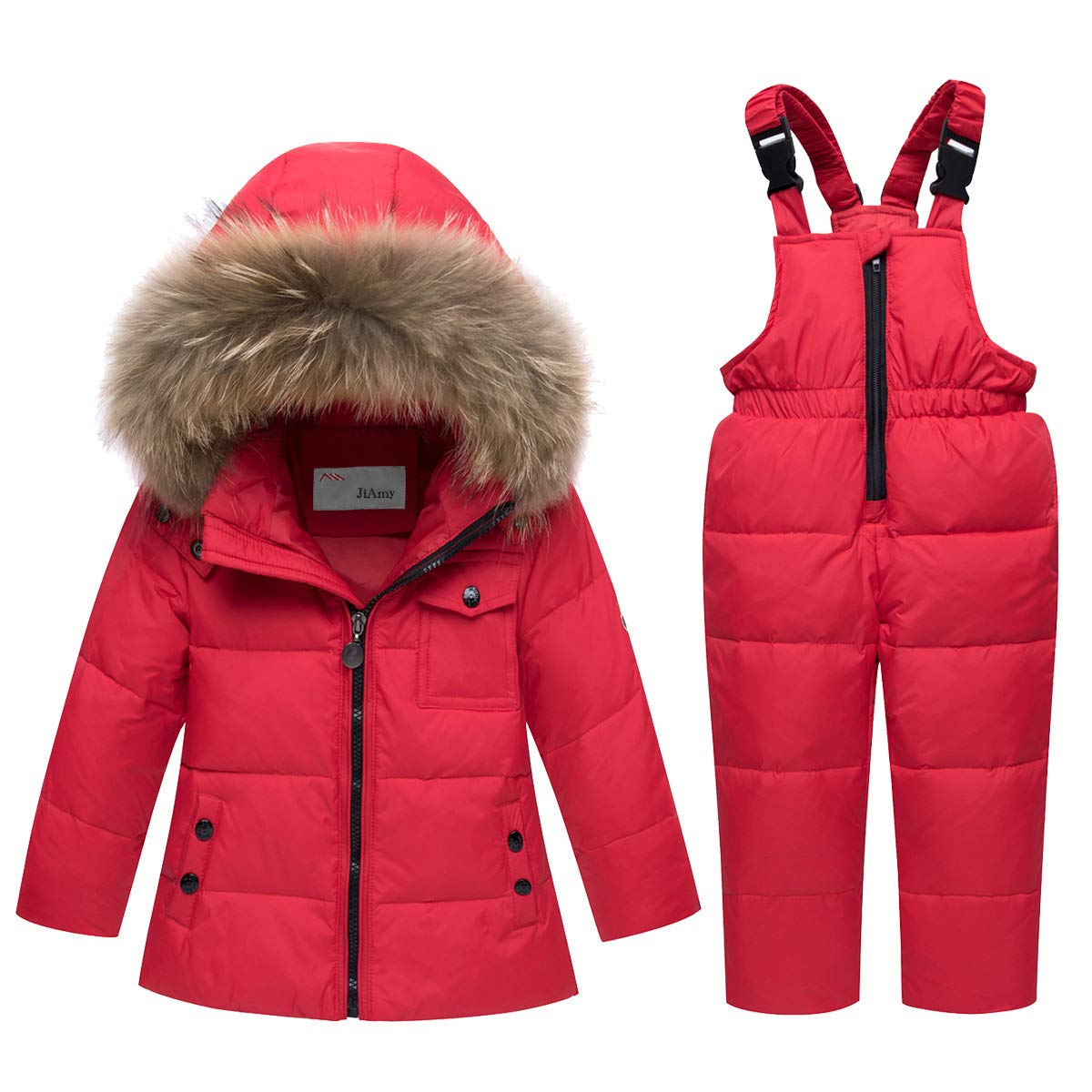 SANMIO Unisex Baby Winter Jacket Warm Snowsuit Down Jacket Ski Suit Cute Hooded Snow Trousers Down Jacket 2pcs Clothing Set Thickened Red