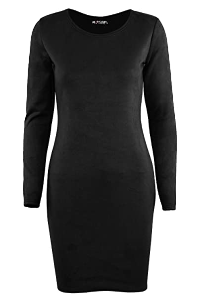 UK Womens Ladies Plain Long Sleeve Jersey Flared Swing Party Mini Dress Top 8-14